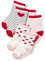 Old Navy Patterned Non-Skid Socks 3-Pack for Baby