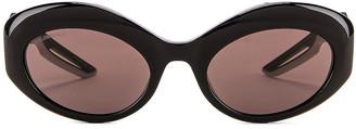 Balenciaga Hybrid Sport Sunglasses in Shiny Black & Grey | FWRD