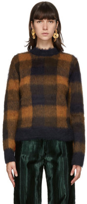 Acne Studios Navy and Orange Alpaca Checked Sweater