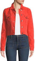 Veronica Beard Liam Suede Button-Front Cropped Jacket