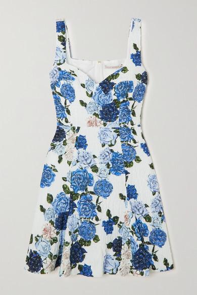 Thumbnail for your product : Emilia Wickstead Easter Floral-print Swiss-dot Cotton-blend Seersucker Mini Dress - Light blue