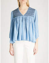 Zadig & Voltaire Taffy smocked cotton-chambray tunic