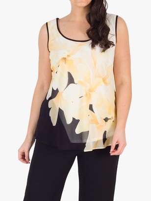 Chesca Chiffon Floral Print Cami Top, Black/Yellow/Ivory