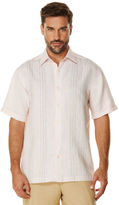 Cubavera 100% Linen Short Sleeve Engineered Panel Shirt