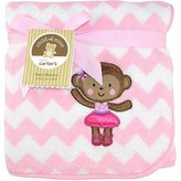 Carter's Ballerina Monkey 2-Ply Embroidered Fluffy Fleece Blanket Child of Mine by