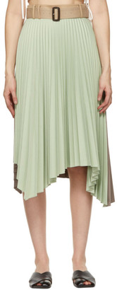 ANDERSSON BELL Green and Brown Joanna 50/50 Pleats Skirt