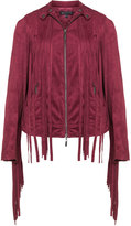 Mynt 1792 Plus Size Faux suede fringed biker jacket