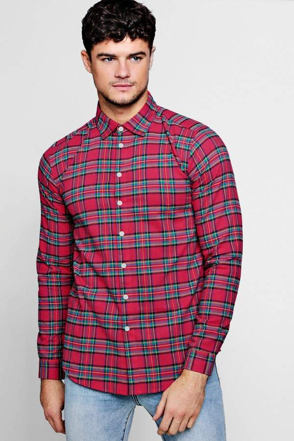 boohoo Pink Long Sleeve Check Shirt