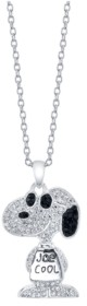 """Peanuts Snoopy Fine Plated Silver Crystal Pendant Necklace, 16"""" + 2"""" Extender for Unwritten"""