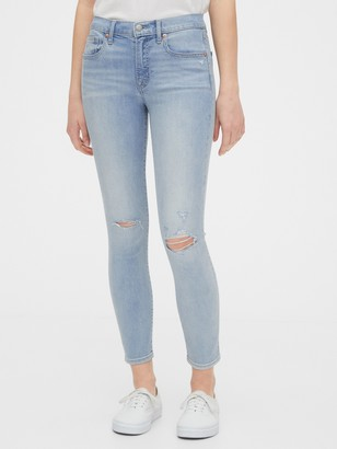 Gap Mid Rise Destructed True Skinny Ankle Jeans