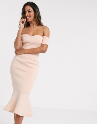 True Violet exclusive bardot sweetheart pephem midi dress in blush pink