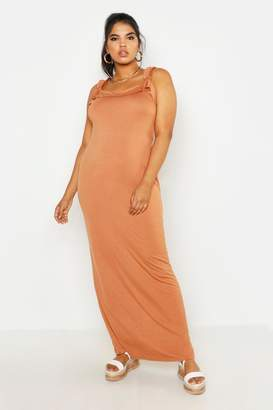boohoo All Sizes Tie Detail Ruffle Maxi Dress