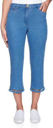 Ruby Rd. Women's Capris Blue - Blue Fringe Denim Capri Pants - Women