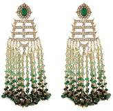 Aishwarya Diamond emerald gold alloy fringe drop earrings