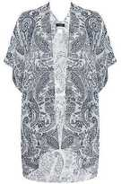 Yours Clothing YoursClothing Plus Size Womens Cardigan Top White Paisley Wrap One Blue