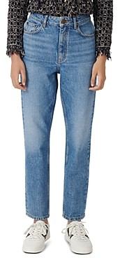 Maje Pario High-Rise Cropped Straight-Leg Jeans in Blue