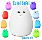 Celebrity Kitty LED Baby Night Light, Eco-Frendly Silicon Material, Sensitive Tap Control, 7 Single Colors Mode + Breathing Light Mode