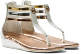 Michael Kors White and Metallic Zia Demi Darcie Wedge Sandals