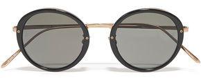 Linda Farrow Round-frame Rose Gold-tone, Titanium And Acetate Sunglasses
