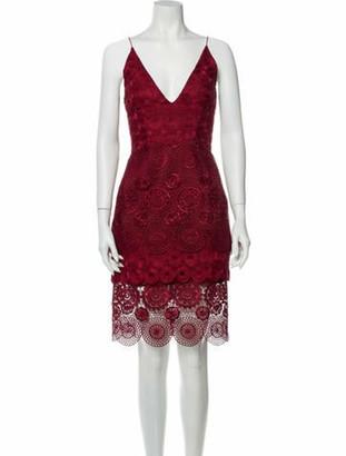 Nicholas Lace Pattern Knee-Length Dress Red