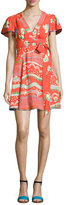 Marc Jacobs Floral-Print Flutter-Sleeve Wrap Dress, Red