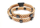 Tissuville Rugged Brown Leather Wrap Tarmac Bracelet With Black Studs