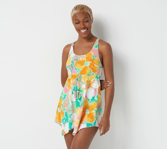 Denim & Co. Beach Scoop Neck Handkerchief Hem Swim Dress