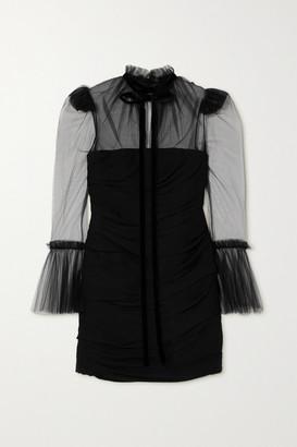 KHAITE Jonah Velvet-trimmed Ruched Silk-tulle Mini Dress - Black