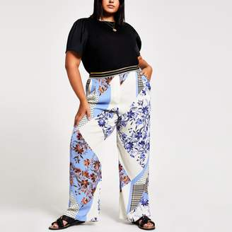 River Island Womens Plus Blue print elasticated wide leg trouser