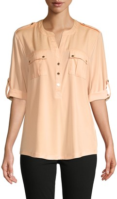 Calvin Klein Rolled-Sleeve Pocket Blouse