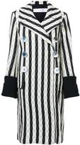 Victoria Beckham striped double breasted coat - women - Silk/Polyamide/Spandex/Elastane/Wool - 8