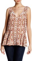 Cupcakes And Cashmere Front Tie Sleeveless Floral Blouse
