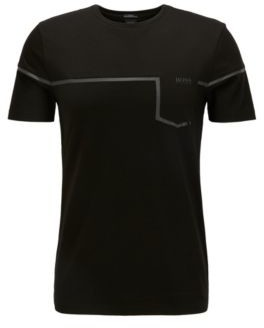 BOSS Slim-fit mixed-material T-shirt with S.Cafe