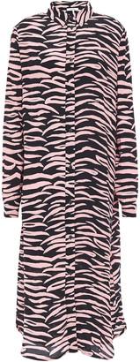 Ganni Lindale Zebra-print Crepe Midi Shirt Dress