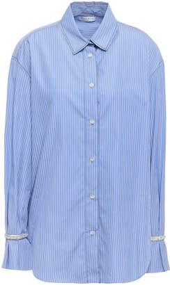 Sandro Embellished Striped Cotton-poplin Shirt