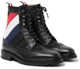 Thom Browne Panelled Pebble-grain Leather Brogue Boots - Black