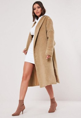 Missguided Camel Shawl Collar Side Split Coat