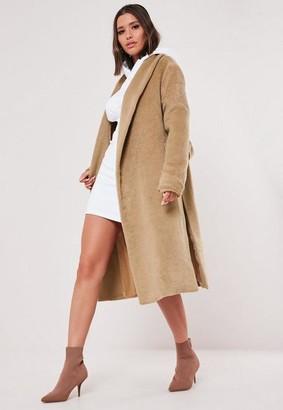 Missguided Camel Shawl Collar Side Split Coat