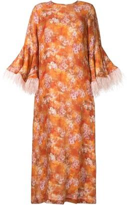 Bambah Camelia feather trim dress