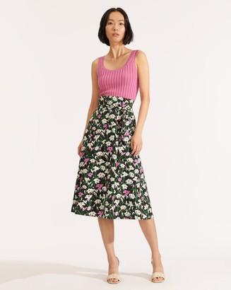 Veronica Beard Avi Floral Midi Skirt