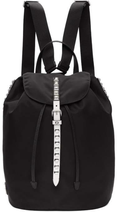 Prada Black and White Studded New Vela Backpack
