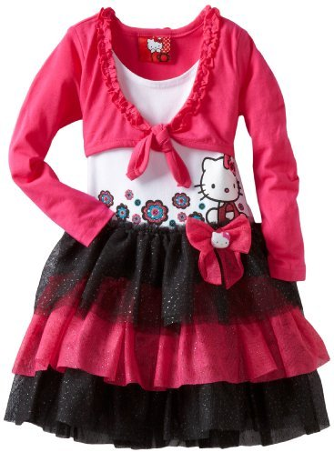 Hello Kitty Girls 2-6x HK Long Sleeve Shrug Dress