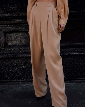 The Drop Women's Tan Double Pleated High-Waist Wide Leg Extra Long Pull-On Pant by @lisadnyc M