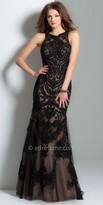La Femme Herrera Sheer Patterned Prom Dress