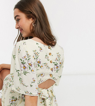 Sisters Of The Tribe Petite deep plunge mini dress in floral print