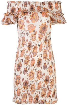 Shona Joy Floral-Print Smocked Off-The-Shoulder Mini Dress