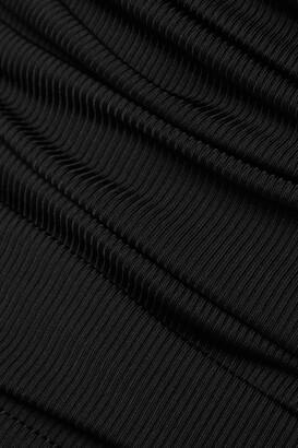 Gold Sign Gelsey One-shoulder Ruched Ribbed-knit Bodysuit - Black