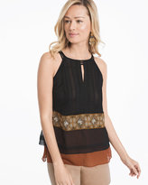 White House Black Market Colorblock Tiered Shell Top