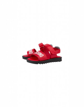 Moschino Calfskin Sandals With Strap And Logo Unisex Red Size 21 It - (5k Us)