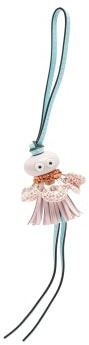 Loewe Paula's Ibiza - Sea Angel Raffia And Leather Key Charm - Pink Multi